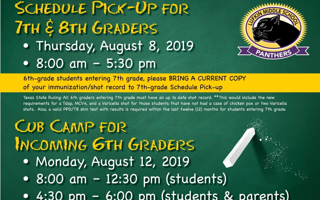 Schedule Pick-Up For 7th & 8th Graders and Cub Camp for Incoming 6th Graders
