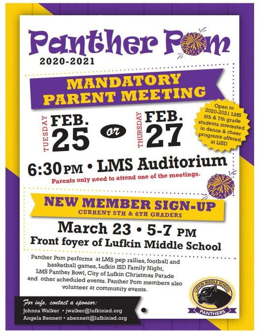 Panther Pom Parent Meeting