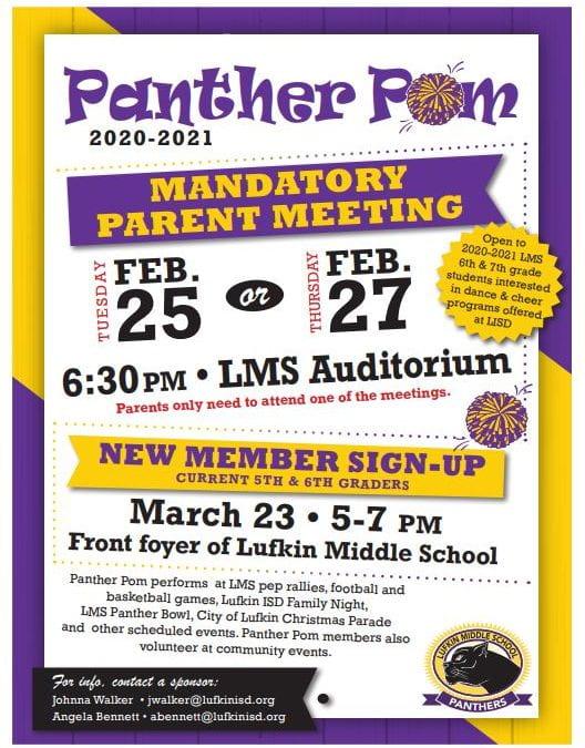 Panther Pom Parent Meeting