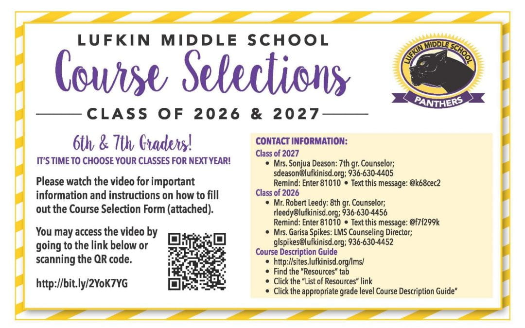 LMS Course Selections Class of 2026 and 2027