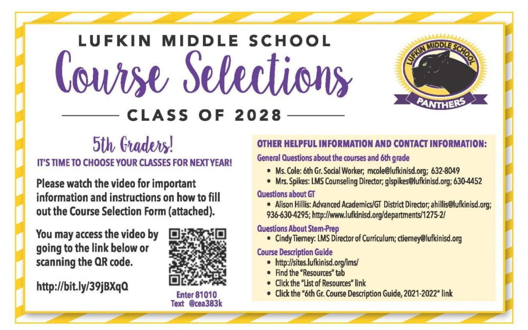 LMS Course Selections Class of 2028