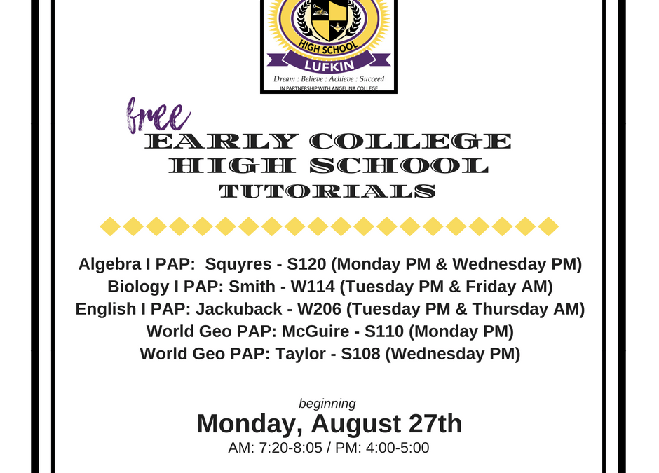 ECHS tutorials begin Monday, August 27th