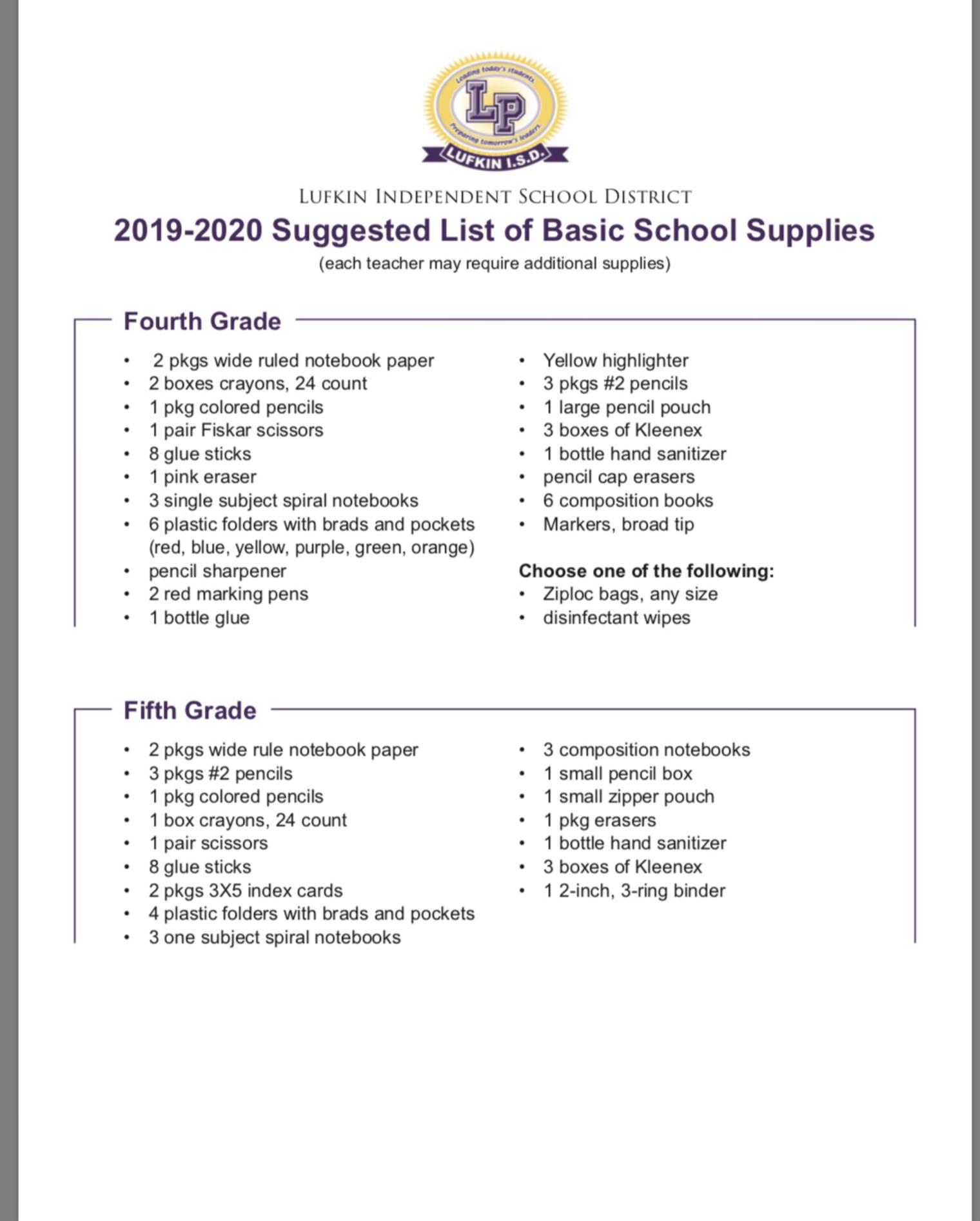 Lisd Calendar 2020.2019 2020 Lisd School Supply Lists Brandon Elementary
