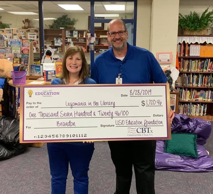 Brandon was awarded a grant for Legomania in the Library