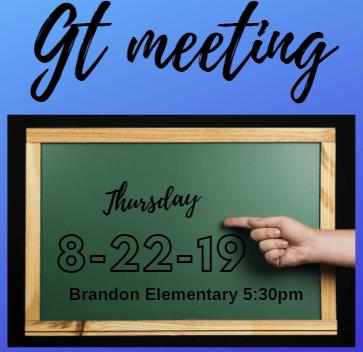 GT Parent Meeting August 22, 2019