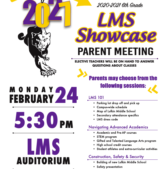 5th Grade Parent Meeting at Lufkin Middle School