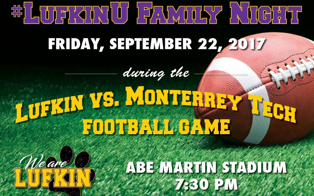 Be sure to bring the family to Friday night's football game!