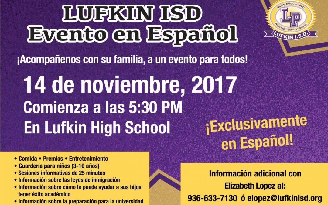 Lufkin ISD Evento en Espanol