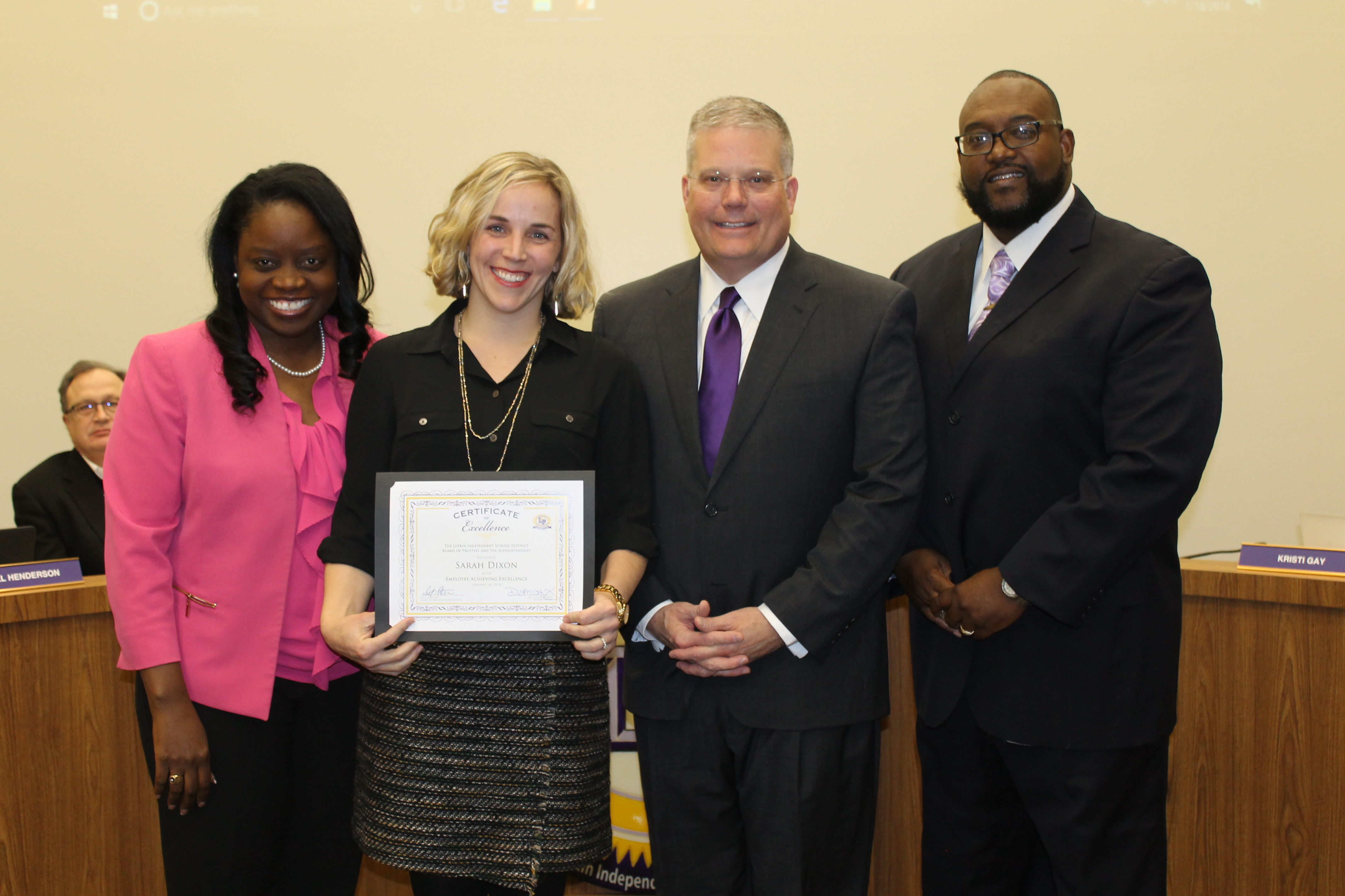 Primary teacher receives national board certification lufkin isd pictured from left superintendent dr goffney sarah dixon board president scott skelton board vice president andro branch 1betcityfo Gallery