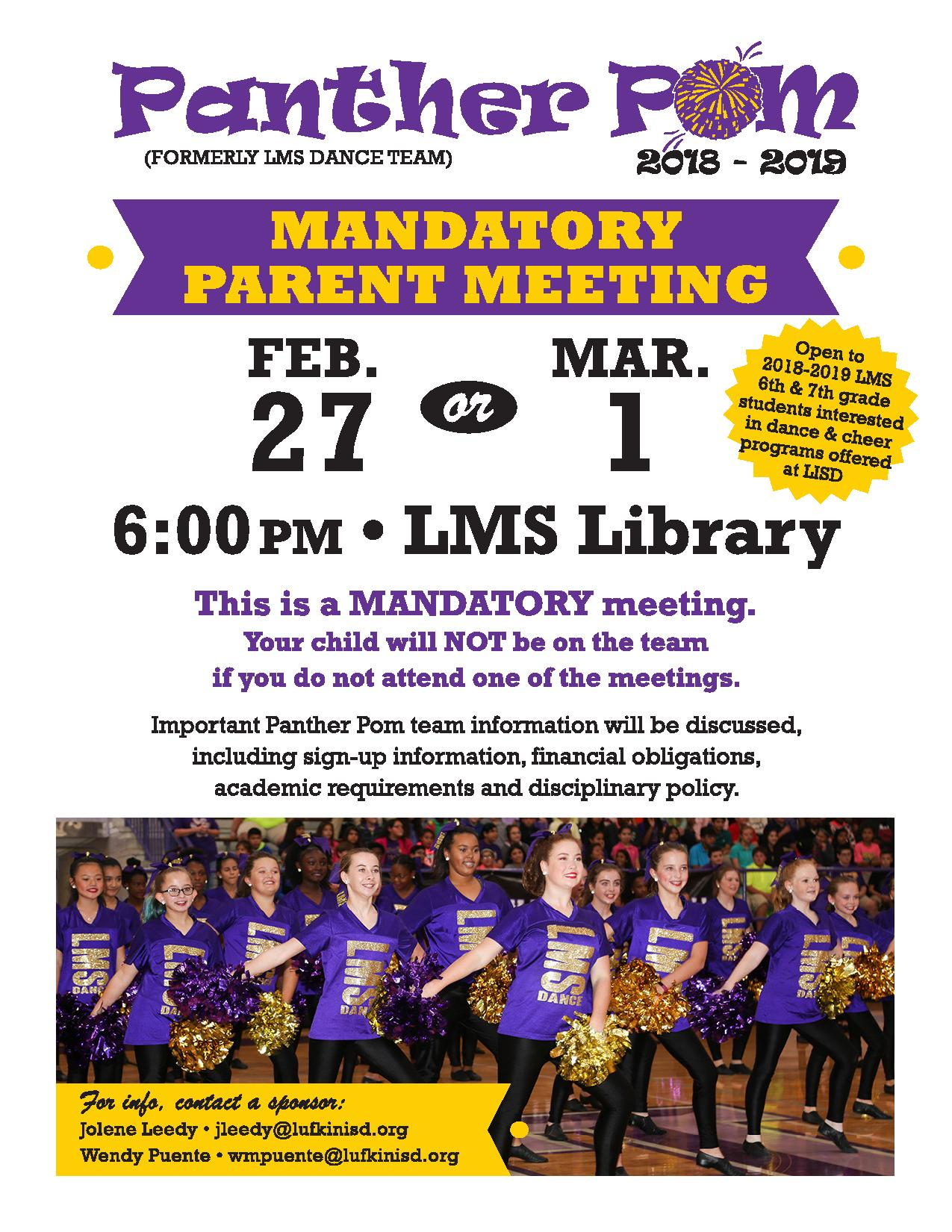 mandatory parent meeting for panther pom set for feb  27 or march 1