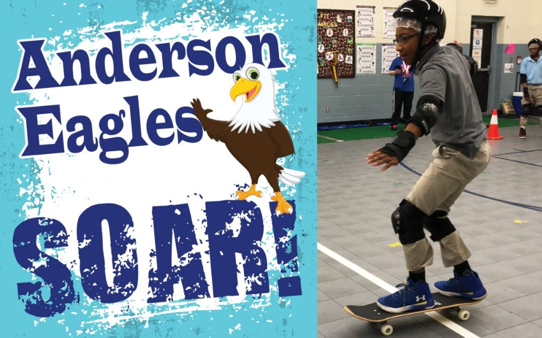 Anderson Elementary PE students exercise through skateboarding