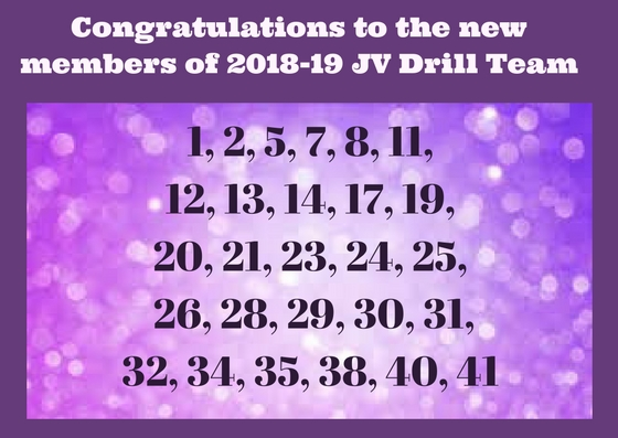 Congratulations to members of the 2018-19 JV Drill!