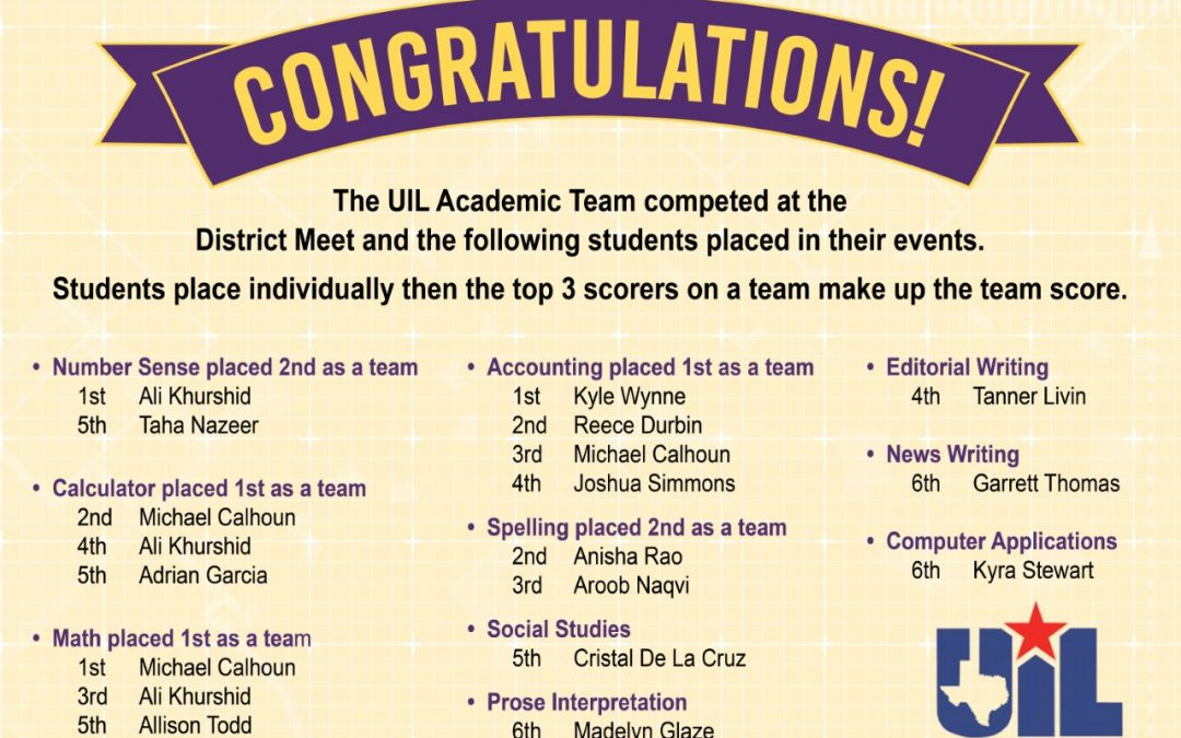 Congratulations to our Lufkin ISD UIL participants!