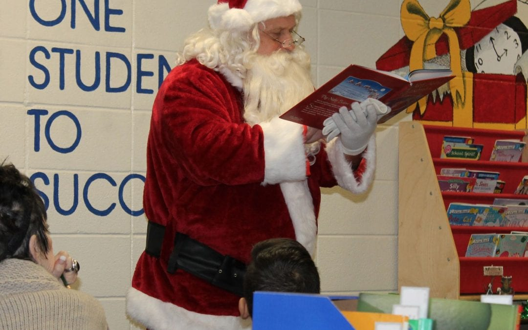 Santa visits the HOSTS reading lab at Brandon Elementary