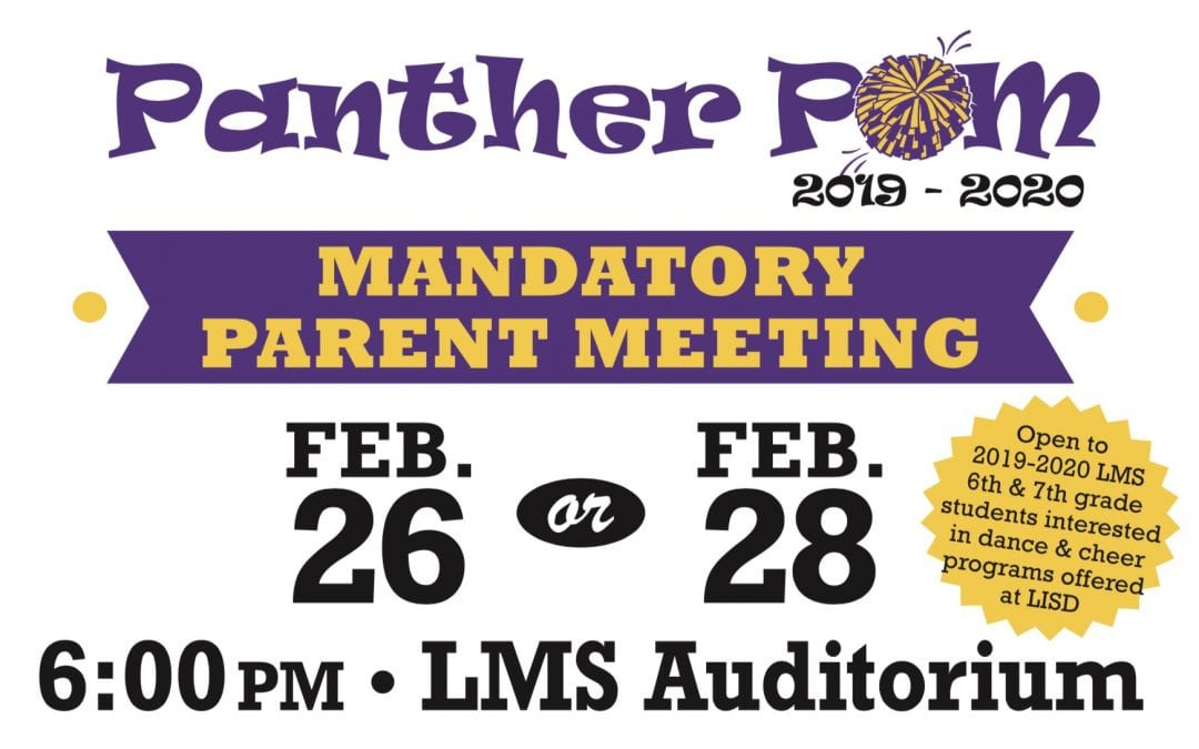 Mandatory parent meeting for Panther Pom hopefuls is set for Feb. 26 or Feb. 28
