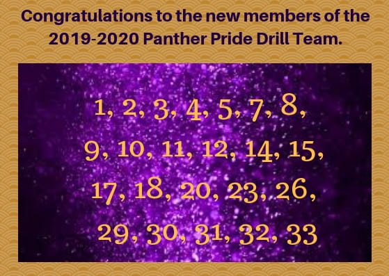 Congratulations to the new 2019-20 Panther Pride line!