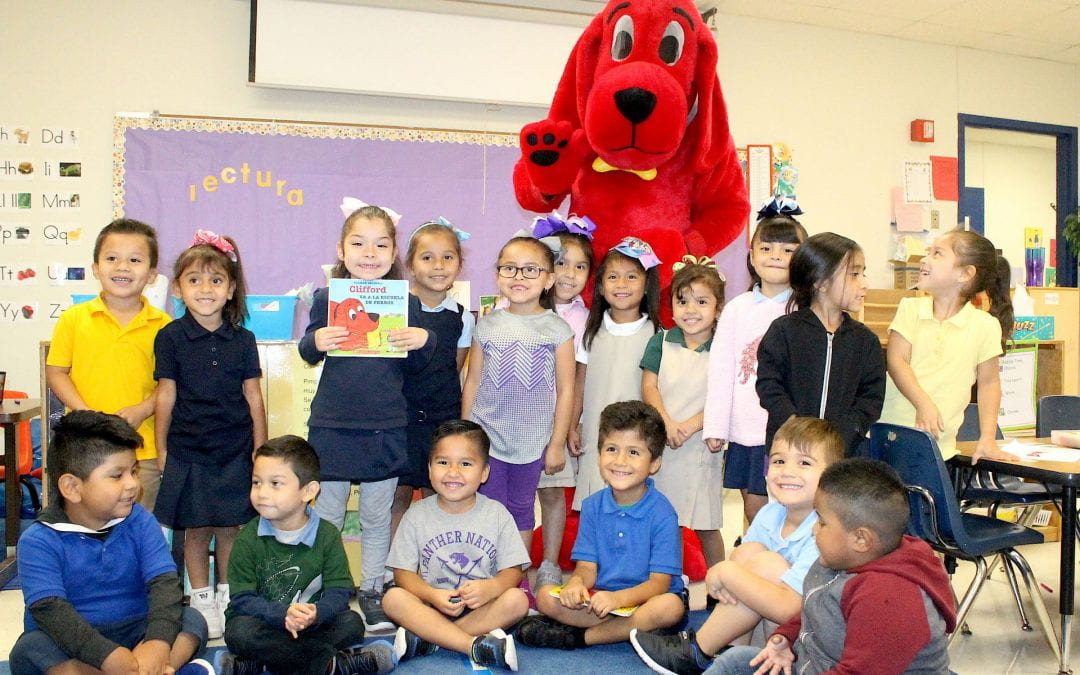 Garrett Primary welcomes Clifford the Dog on campus