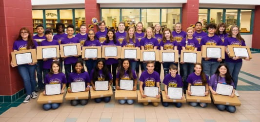 6th cohort of SFA STEM Academy students recognized with top volunteers at board meeting