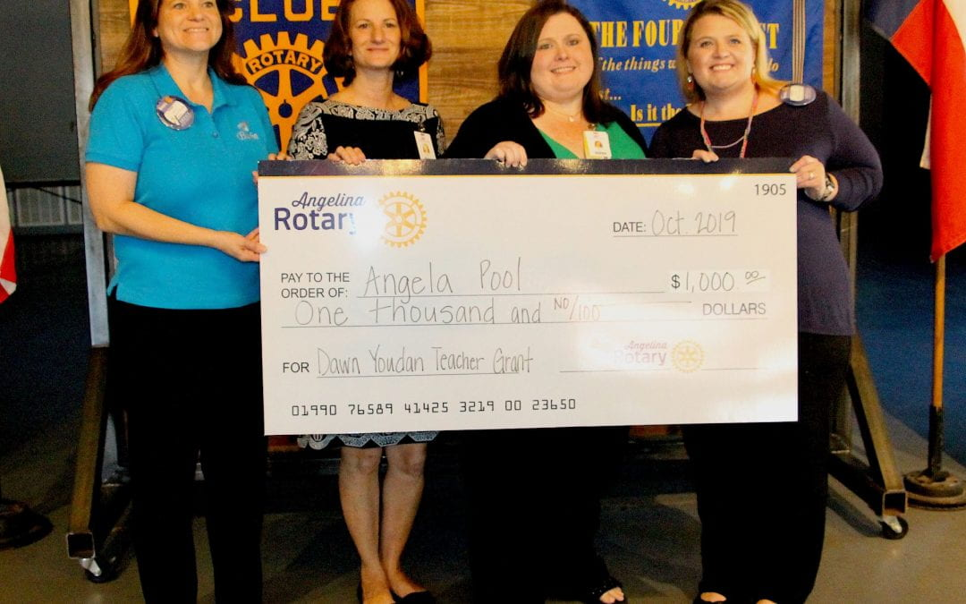 Angela Pool awarded the Dawn Youdan Memorial Grant from the Angelina Rotary Club
