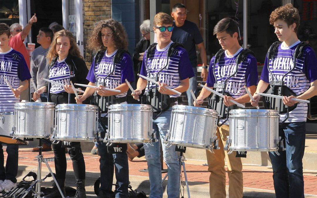 LHS Drumline welcomes U.S. Capitol Christmas Tree Tour downtown Lufkin