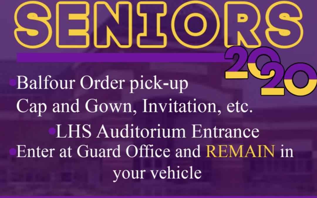 LHS Seniors: Balfour order pickup April 8
