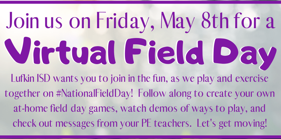KIDS…..LET'S GET MOVING! IT'S VIRTUAL FIELD DAY!