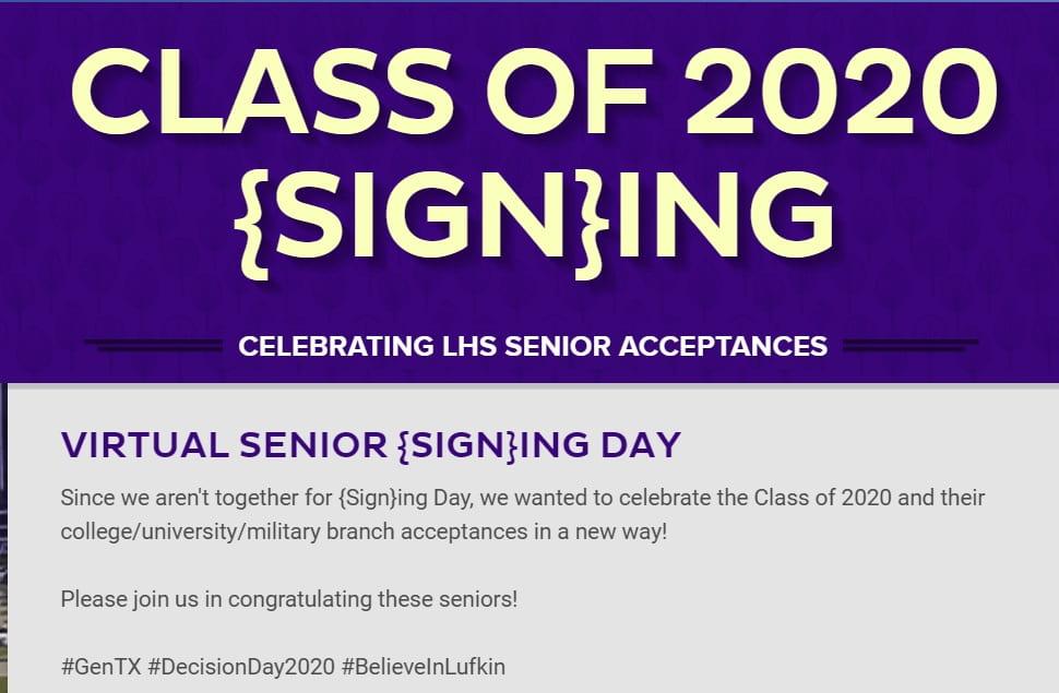 LHS Class of 2020 Virtual  Senior {Sign}ing