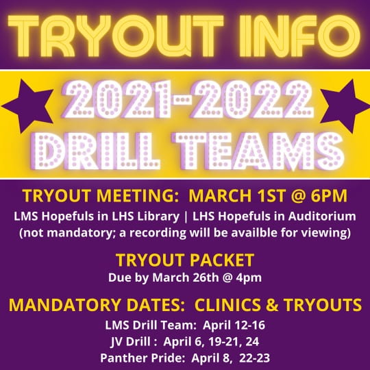 LMS, LHS drill team tryout meetings scheduled