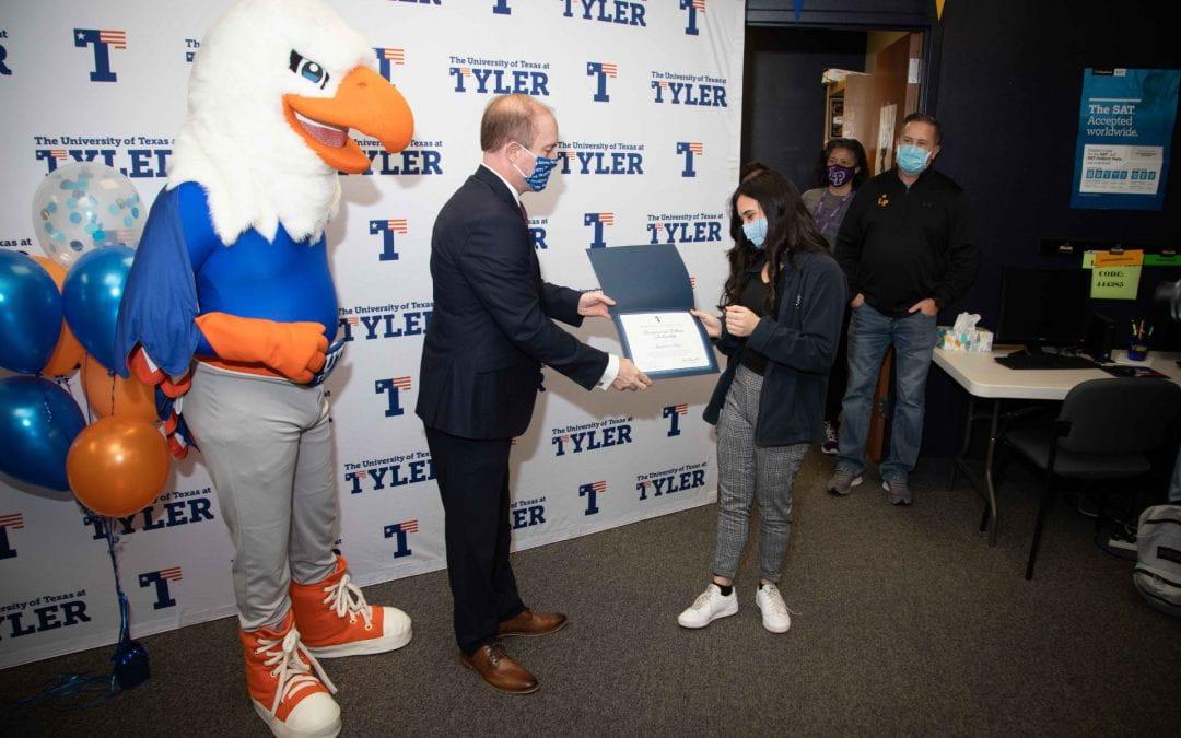 UT-Tyler officials surprise LHS senior with full-ride Presidential Fellow Scholarship