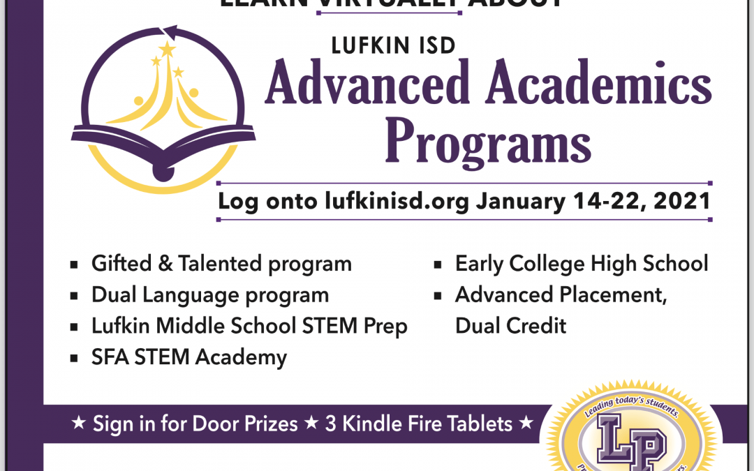 PARENTS: Advanced Academics Programs virtual event scheduled for Jan. 14-22