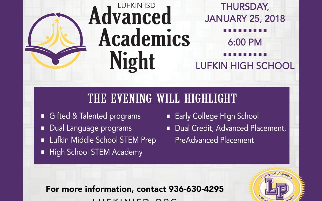 Join us for Advanced Academics Night