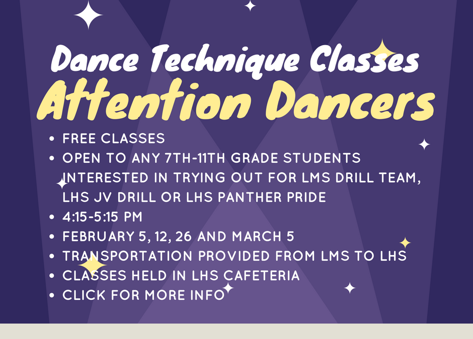 Free Dance Technique Classes for Prospective LMS Drill Team Members, JV Drill and Panther Pride