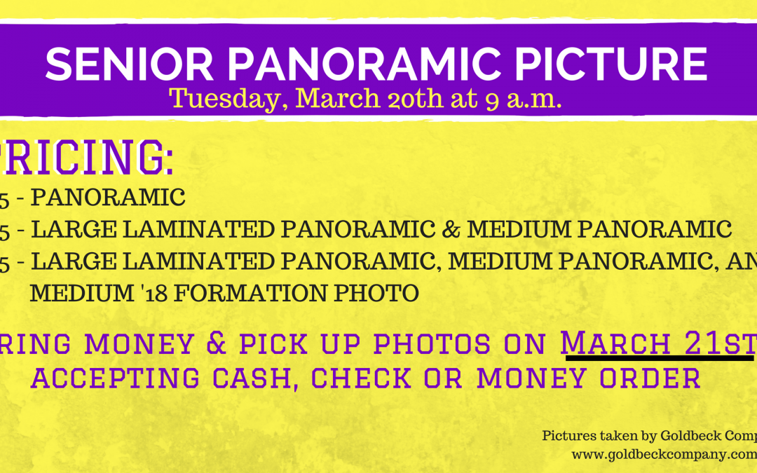 Senior Panoramic Picture Scheduled for March 20th