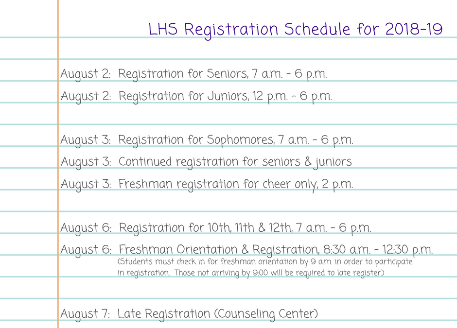 2018-19 LHS Registration Schedule