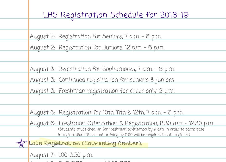 2018-19 LHS Registration Schedule