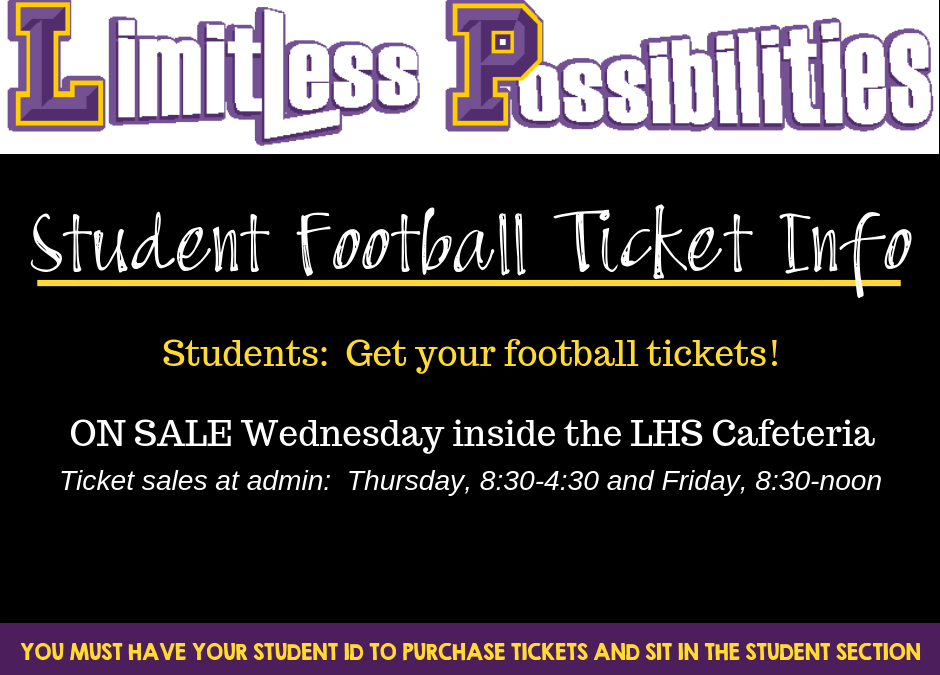 Student Football Tickets – On Sale During Lunches