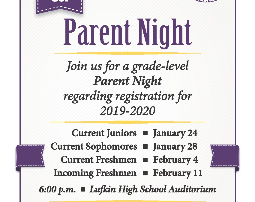 Parent Night:  Let's talk registration for the 2019-2020 school year