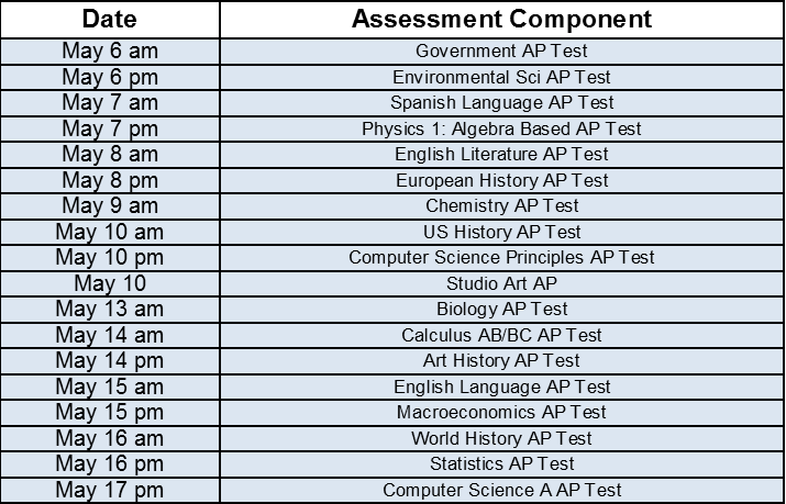 LHS Advanced Placement Test Dates | Lufkin High School