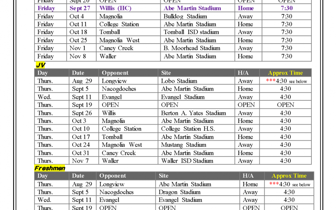Lufkin Panther Football Schedule
