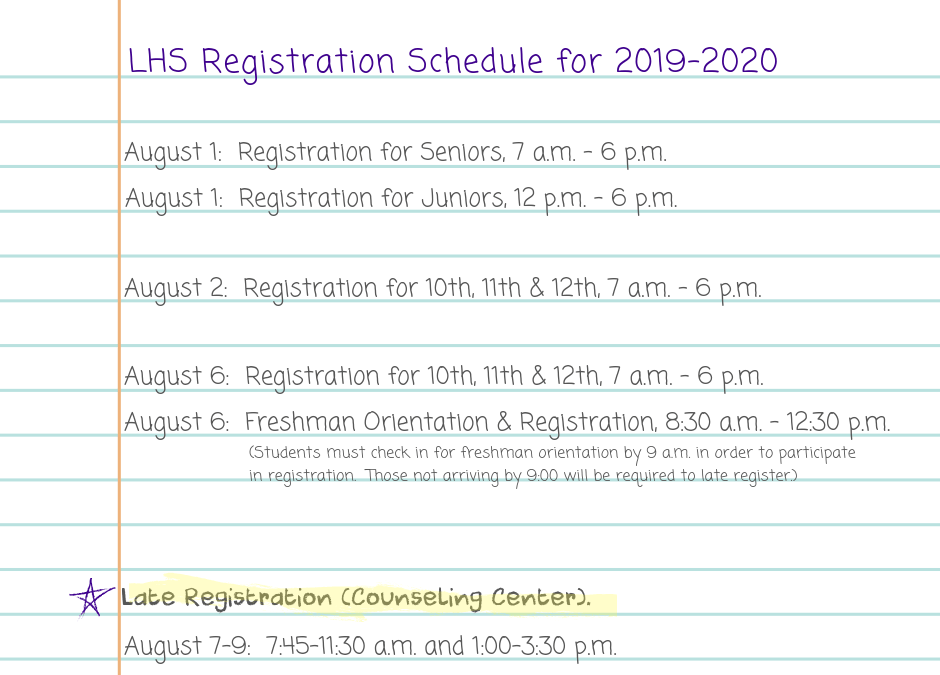 Registration and Orientation Dates/Times for 2019-2020