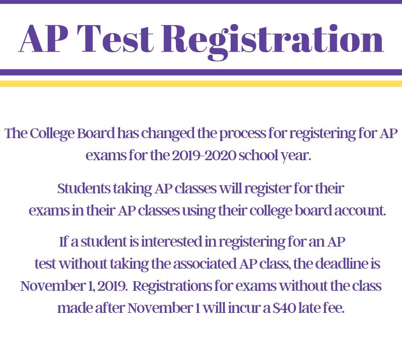 AP Test Registration Changes