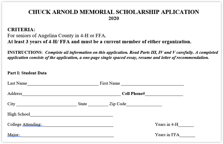 Chuck Arnold Memorial Scholarship