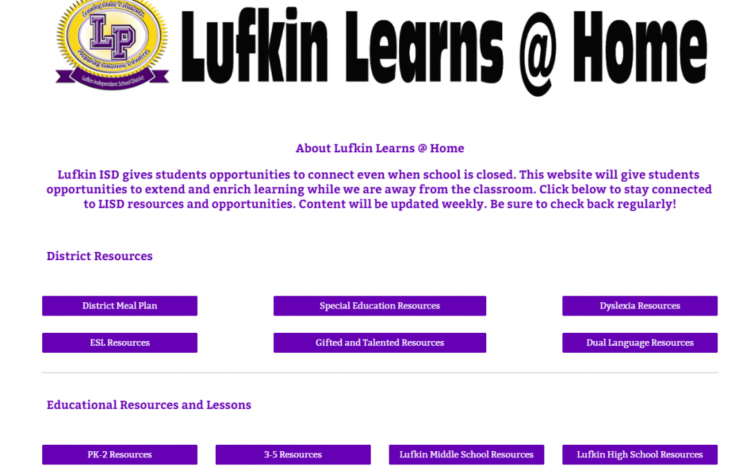 Lufkin Learns @ Home – New Distance Learning Site