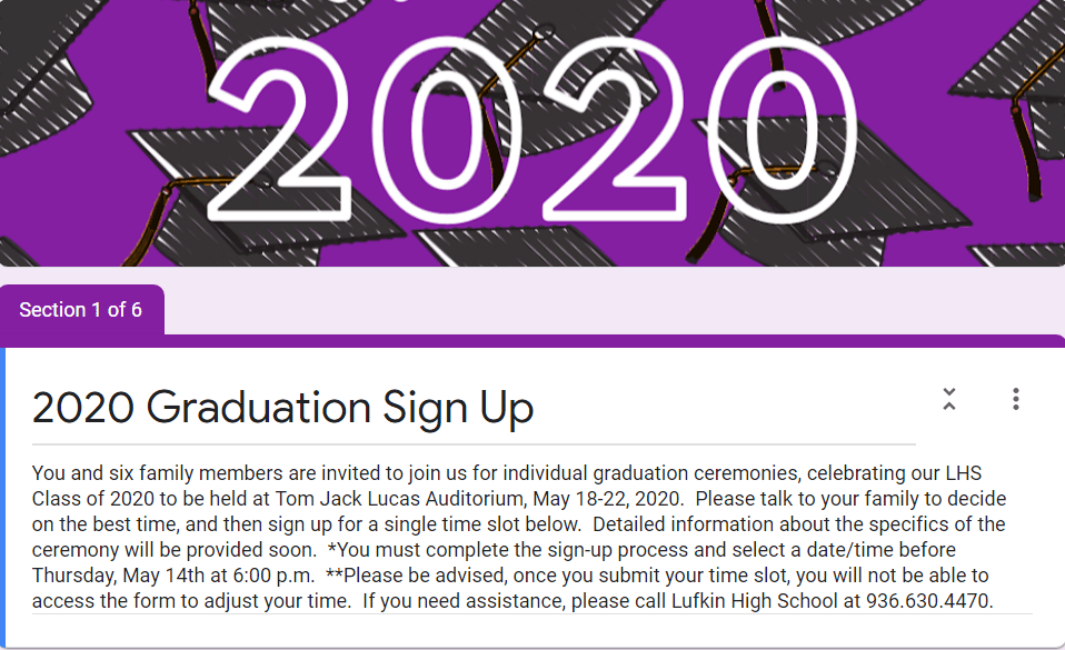 Graduates:  Sign up for ceremony date/time here