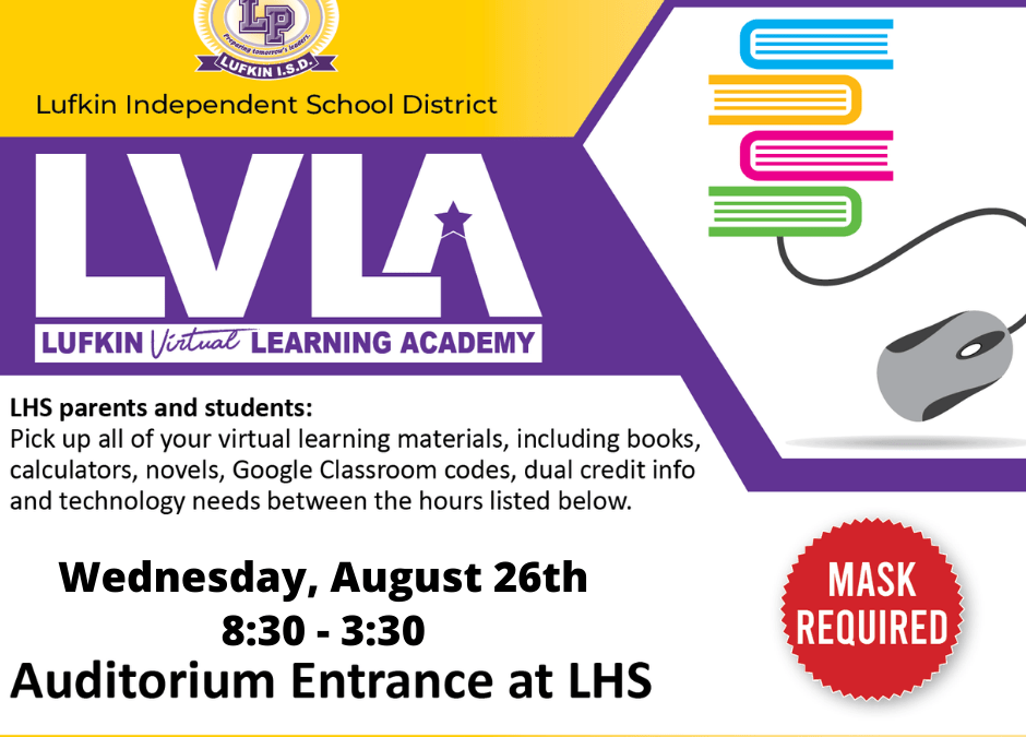 Virtual Learner Supply Pick-up:  8/26/20