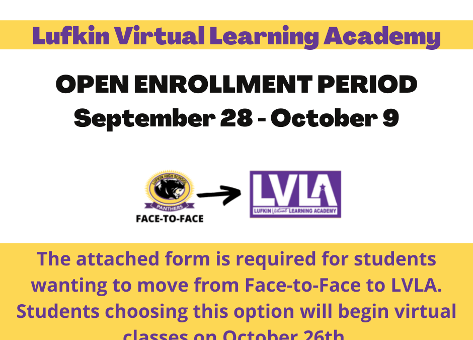 LVLA Open Enrollment for the 2nd Nine Weeks