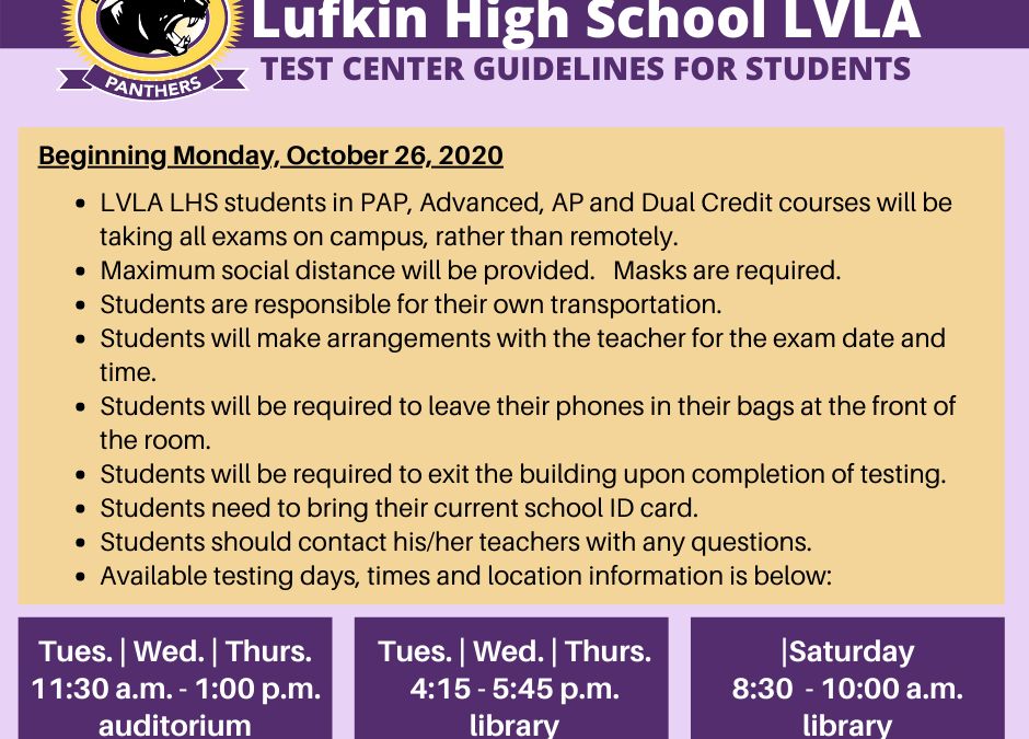LHS:  New Test Center Guidelines for Virtual Students