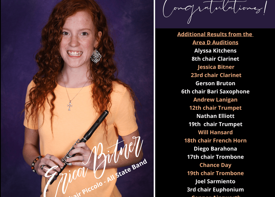 Congrats Erica Bitner – Named TMEA All State Band