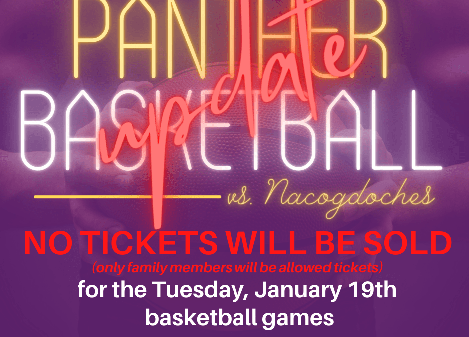 Panther Basketball Ticket Info for 1/19/21