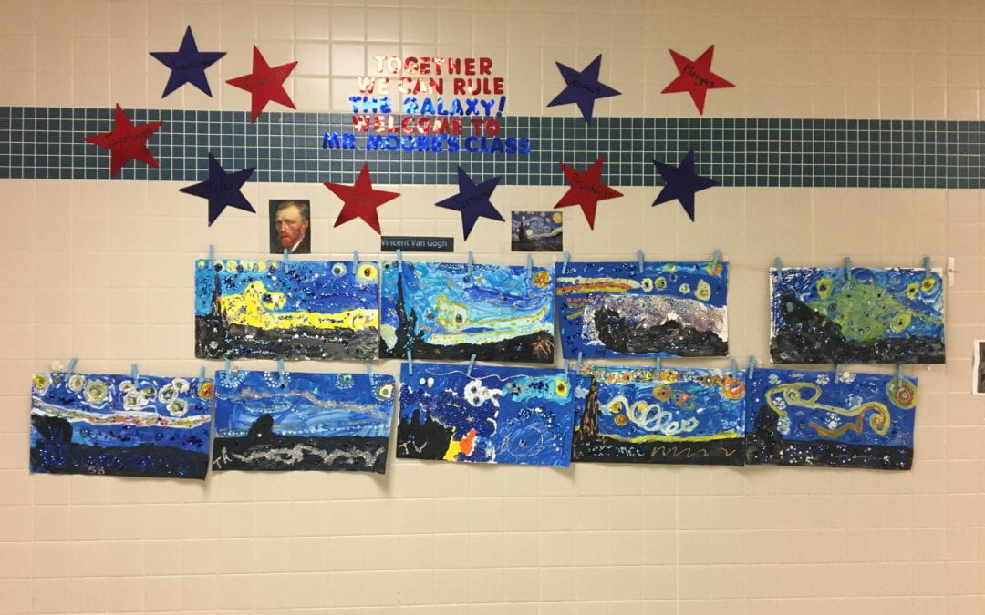 "Mr. Moore's students are learning about Vincent Van Gogh.  His students created their own versions of Van Gogh's famous painting ""Starry Night""."